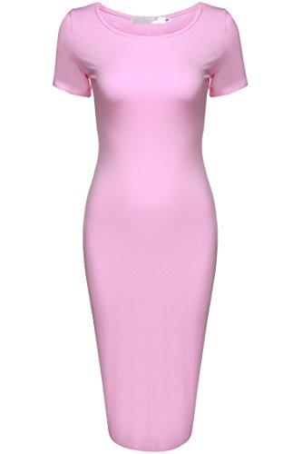 cooshional Vestido delgado de manga corta vestido elegante de lápiz con O cuello de las mujeres Rosa