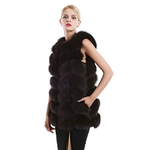 Outwear de Femme r Gilet Manches Fourrure sans pour Fourrure Chaud de Gilet Hiver de Renard Gilet Doux wUqFnxE8E