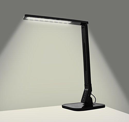 Bella Via BV-DL01 Dimmable LED Desk Lamp 5 Level Dimmer, Touch-Sensitive Control Panel, 1 Hour Auto Timer, USB Charging Port, 5V/1A, 18.8