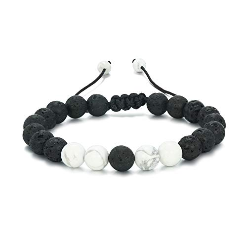 Women Mens Lava Rock Stone Beads Bracelet Aromatherapy Anxiety Essential Oil Diffuser Jewelry White E034A