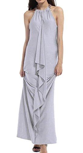 Ruffle Jaycargogo Grey Halter Backless Dress High Irregular Womens Maxi Neck rzETqnrxw