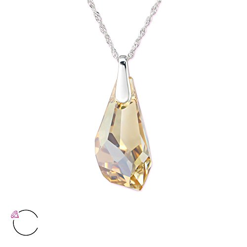 Atik Jewelry Silver Polygon Necklace With Swarovski Crystal - Golden (Swarovski Polygon Crystal)