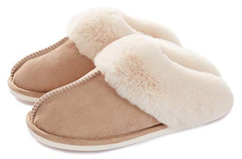 Womens Slipper Memory Foam Fluffy Soft Warm Slip On House Slippers,Anti-Skid Cozy Plush for Indoor Outdoor Tan 8.5-9