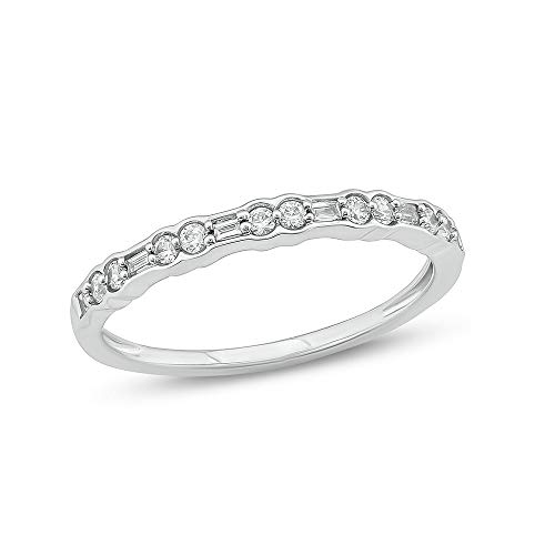 Tesero Mio 10K White Gold 1/5Carat Baguette & Round (I-J Color, I2-I3 Clarity) Natural Diamond Anniversary Band for Women ()