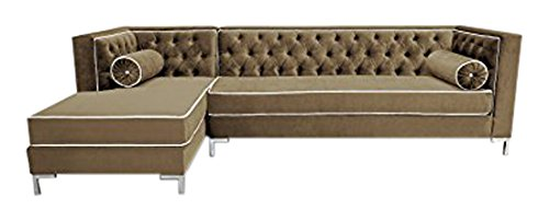 Decenni Tobias 9.5 Foot Tufted Left Arm Chaise Facing Dove Piping Sectional Sonoma Taupe