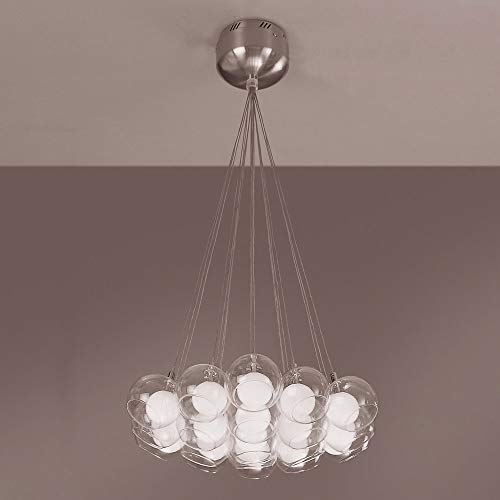 Chandeliers 19 Light Bulb Fixture with Satin Nickel Finish Inner Opal and Outer Clear Glass G4 22