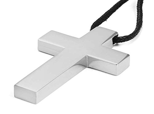 VNOX Stainless Steel Simple Cross Pendant Necklace Polished for Men Jesus Christ Lord Prayer,