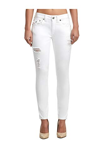 True Religion Women's Crystal Embellished Rips Jennie Stretch Curvy Skinny Jeans w/Flaps in Optic White (31)