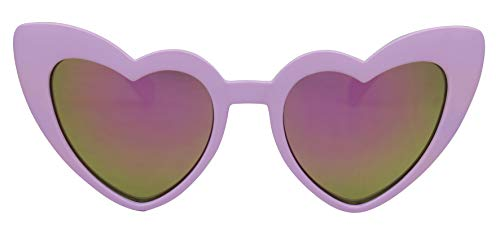 - ShadyVEU - Trendy Kids Heart Shaped Love Colorful Girls Toddlers Ages 2-6 Yrs. Oversize Sunglasses (Purple, Purple Mirror)