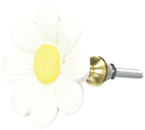 Abbott Collection Sculpted White and Yellow Daisy Drawer Knob (Daisy Flower Knob)