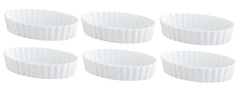 HIC Oval Creme Brulee, Porcelain, 5-Inch, Set of 6 Microwave Creme Brulee