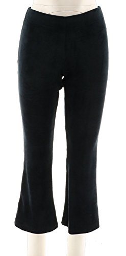 (AnyBody Loungewear Petite Velour Flare Pants Black PS New A297304)