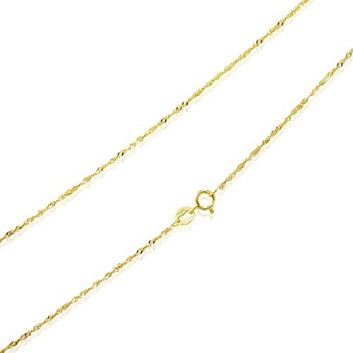 """Sea of Ice Yellow Gold Flashed Sterling Silver 1mm Twisted Curb Singapore Rope Chain Anklet, Size 10"""""""