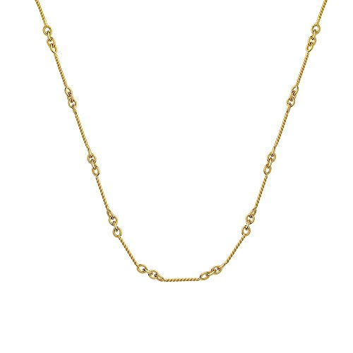 Twisted Rope Gold 14k (14k Yellow Gold .8mm Twisted Bar Cable Chain Necklace Lobster Claw Closure - 16 Inch)