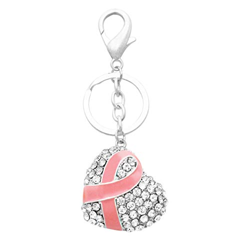 Rosemarie & Jubalee Women's Crystal Encrusted Breast Cancer Pink Ribbon Heart Keychain Handbag Charm