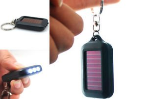 UNAKIM--2016 Mini Portable Solar Power ZO Black 3LED Light Keychain Torch Flashlight by UNAKIM