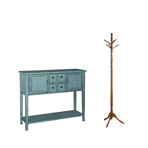 2 Piece Console - 2 Piece Entryway Storage Console Table and Coat Rack Set