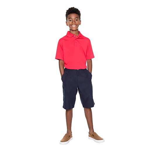 French Toast Boys' Big Short Sleeve Stretch Sport Polo, red, M (8) by French Toast (Image #3)