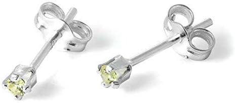 Pendientes únicos de plata de ley maciza y 2 mm de peridoto redondo de cristal de circonita cúbica, regalo para mujeres y hombres, accesorios exclusivos