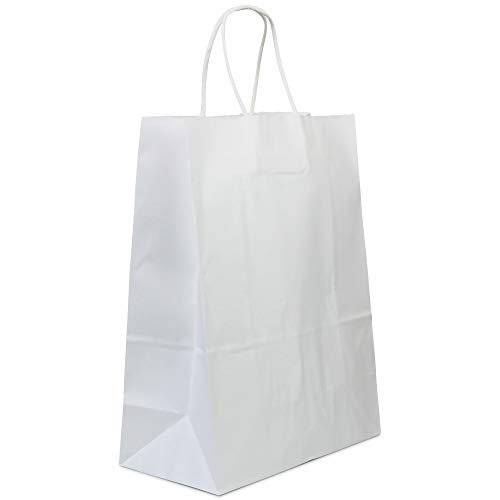 [50 Pack] Heavy Duty White Paper Bags with Handles 13 x 10 x 5