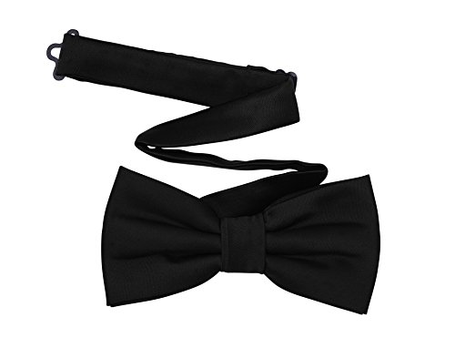 Harvest Male Black Bow Tie - Men's Pre-tied Adjustable Length Formal Tuxedo Satin Solid Color (Cummerbund Costume)