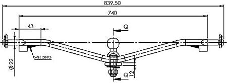 b - Kat II, bis 2,0t, 28mm Bolzen-Durchmesser Ackerschiene verdrehsicher mit Kugelkopf Kat I oder Kat II 2 Bis 3,5 Tonnen Zuglast Anh/ängerkupplung Einfach vor Verbiegen sch/ützen