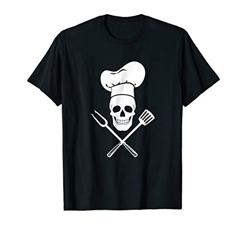 Chef Hat Cook Skull Kitchen BBQ Barbecue Tools T-Shirt