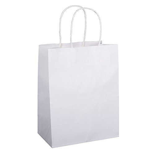 - Shopping Bags 8x4.75x10.5 100Pcs BagDream Gift Bags,Cub, Paper Bags, Kraft Bags, Retail Bags, White Paper Bags with Handles 100% Recyclable Paper