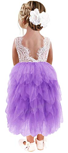 2Bunnies Girl Peony Lace Back A-Line Tiered Tutu Tulle Maxi Flower Girl Dress (Purple Sleeveless Maxi, 4T)