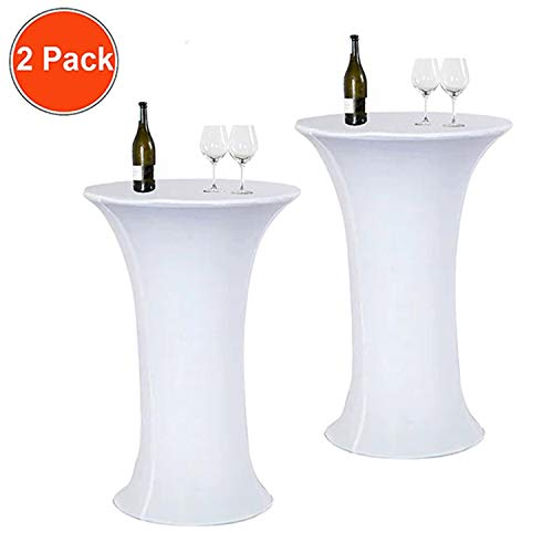 Reliancer 2 Pack 24inch Cocktail Round Spandex Table Cover Tight Fitted Stretch Tablecloth Table Cloth for Rounded Bottom Outdoor Party DJ Tradeshows Banquet Vendors - Way Cocktail Two