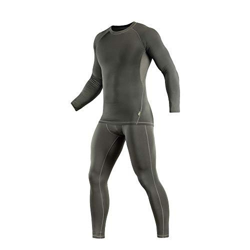 (M-Tac Thermal Underwear Set for Men Base Layer Fleece Lined Top & Bottom Ultra-Soft (Olive, S))