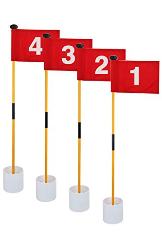 Barbella 4 Packs Golf Flagsticks-34 Inch Golf Pin Flags for Driving Range Backyard Practice Hole Cup with Flag, Portable 2-Section Design Golf Practice Putting Green