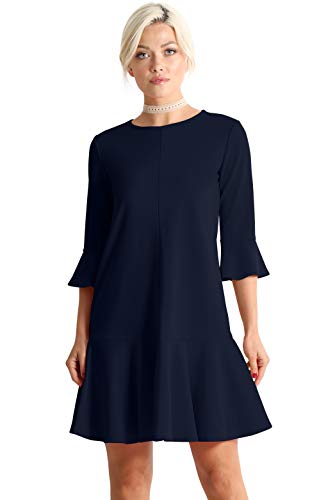 Womens Cocktail 3/4 and Short Sleeve Ruffle Hem Shift Dress - Made in USA (Size XXXX-Large (US 18-20), Navy)