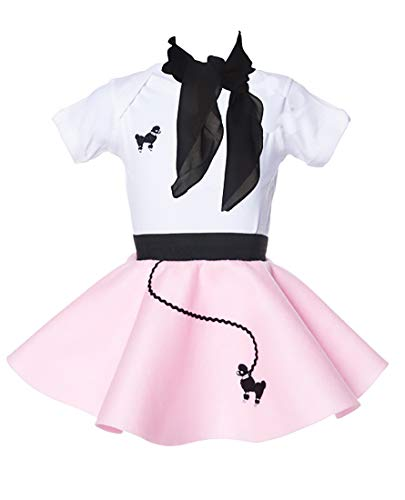 Hip Hop 50s Shop Baby/Infant 3 Piece Poodle Skirt Costume Set - Light Pink (12 month-3PC)]()