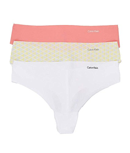 Calvin Klein Invisibles Thong 3-Pack, S, Pink/Nude/White