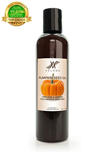 - 100% Organic Pumpkin Seed Oil by Velona | All Natural for Hair, Body and Skin Care | Unrefined, Cold Pressed | Size: 4 OZ