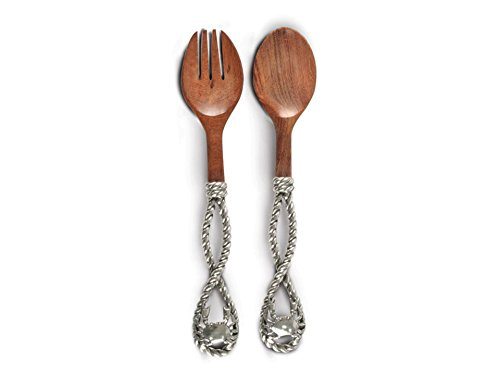 Pewter Rope and Crab Handle Wood Salad Serving Set