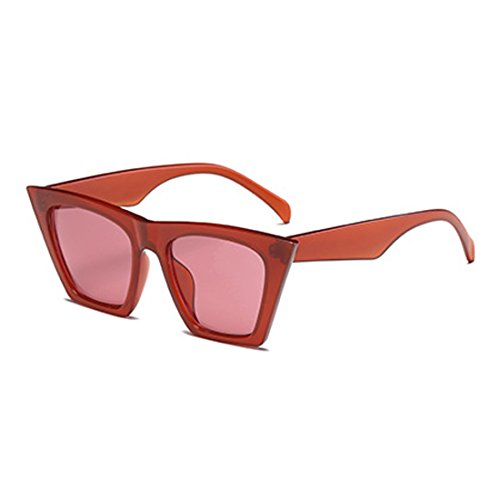Style Women Cat Vintage marco Sunglasses Lens Yefree Eye plástico Rojo Oval Retro vdfnfZq