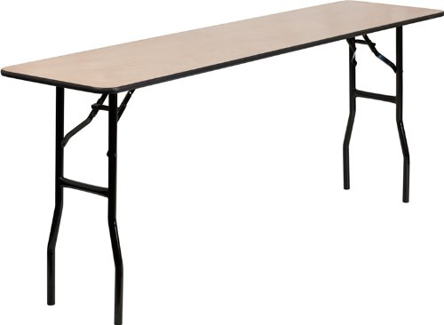 (Flash Furniture 18'' x 72'' Rectangular Wood Folding Training / Seminar Table with Smooth Clear Coated Finished Top)
