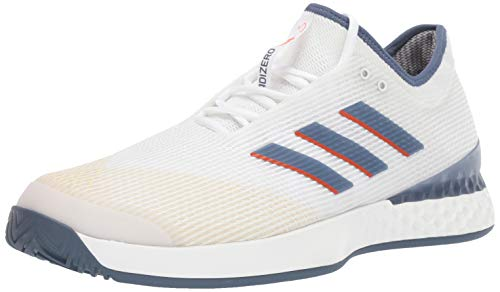 Racquets Adidas Tennis - adidas Men's Adizero Ubersonic 3 Tennis Shoe, White/tech ink/Light Grey Heather, 9 M US