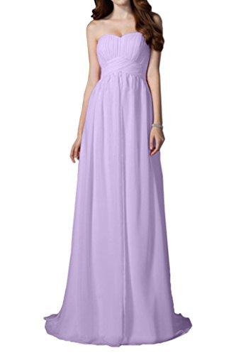Robe De Demoiselle D'honneur Avril Bustier Simple, Lacer Lilas En Mousseline De Soie Robe De Soirée Longueur De Plancher
