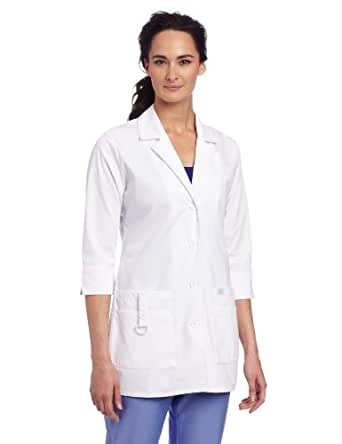 Dickies Scrubs Women's Junior Fit 3/4 Sleeve Lab Coat, White, X-Small