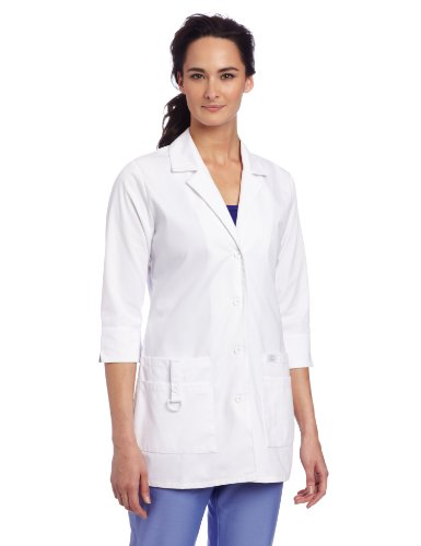Dickies Scrubs Women's Junior Fit 3/4 Sleeve Lab Coat, White, Medium -