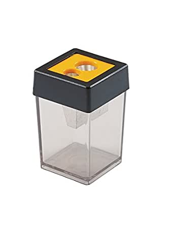Dahle 53465 Pencil Sharpener, Hand-Held Canister, Dual Openings Accept Graphite & Oversized Artist Pencils, Easy-To-Replace Blades, Yellow