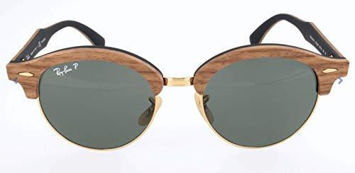 Ray-Ban Wood Unisex Sunglass Polarized Round, Gold, 51 ()