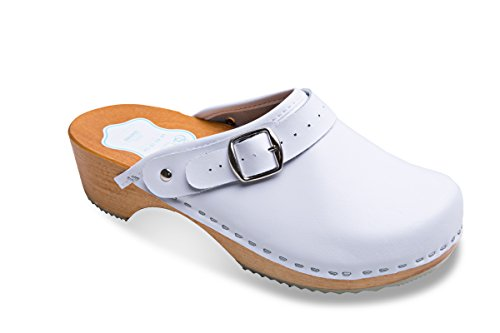Sole 3 8 White FUTURO Women's Natural Unisex Healthy UK Sizes Colours Leather Clogs Wooden FASHION Plain Genuine rarOn06
