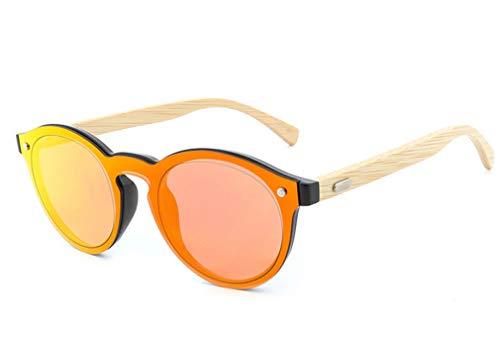 Forma Madera Gafas Azul de de Retro piernas Sol Gafas de polarizadas Orange de en Sol XIYANG Gafas corazón de bambú Redondas Personalidad de x1w6HHqU