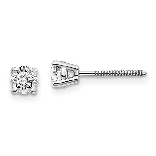14kw .50ct SI3 G-I Diamond Stud Thread on/off Post Earrings, 14 kt White Gold