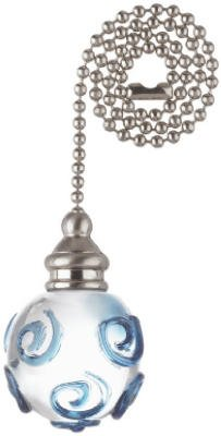 Westinghouse Lighting 77621 12-Inch Clear Orb With Blue Ceiling Fan Pull Chain