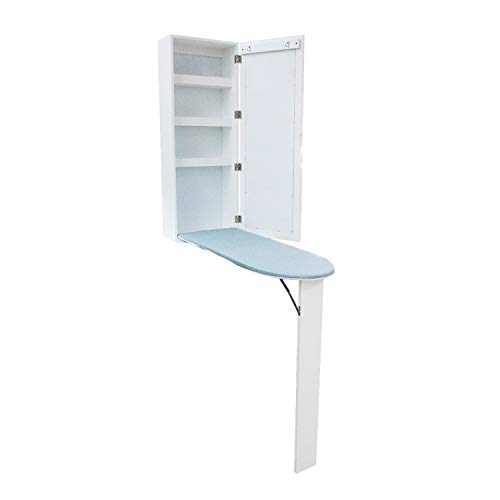 Berry Ave Ironing Board Cabinet - Wall-Mounted Ironing Board - Over-The-Door Ironing Board with Wooden with Extra Storage Cabinet - Lightweight and Compact Ironing Board with Easy Setup